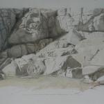 65cmX50cm, dessin, crayon de couleur réhaussé de fusain et mine de plomb, 2012-