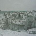 La mer, 54cmx39cm crayon de couleur réhaussé de fusain et mine de plomb, 2012